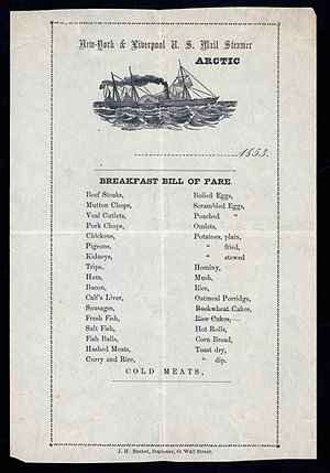 SS Arctic - Breakfast Menu from the SS Arctic dated 1853