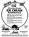 Babe Ruth chocolate coated ice cream baseballs newspaper ad.png
