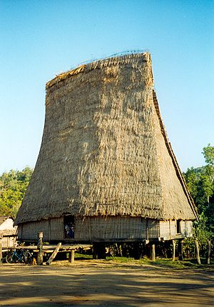 Bahnar people -  A Bahnar rong (communal house) in the village of Kon Kotu.