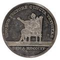 Baksida av medalj med bild av en sittande man - Skoklosters slott - 99389.tif