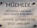 Bartók Béla út 40, monument plaque, 2018 Lágymányos.jpg
