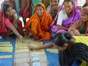 Participatory rural appraisal - PRA ranking exercise being carried out by members of a Farmer Field School in Bangladesh, 2004