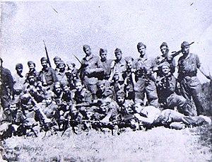 "People's Liberation Army of Macedonia - Partisans of the battalion ""Stiv Naumov"", set up in November 1943 in Gorna Prespa, Aegean Macedonia"