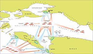 Battle of the Dalmatian Channels - A map of the battle on 15 November (approximate positions)