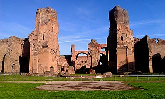 Baths of Caracalla - The baths as viewed from the south-west. The caldarium would have been in the front of the image.