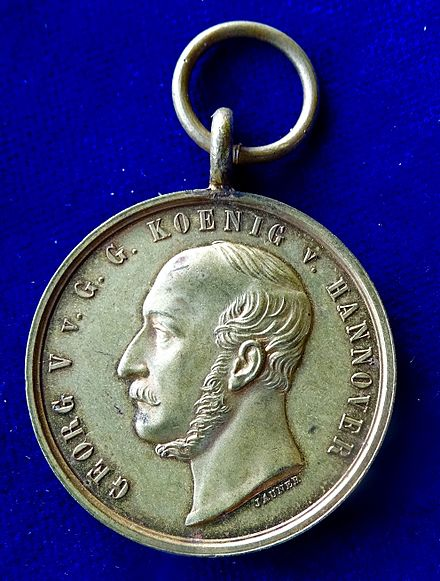 Battle of Langensalza (1866) Hanoverian Medal, awarded by George V to his troops fighting in that battle. Obverse. Battle of Langensalza (1866) Hanoverian Medal, obverse.jpg