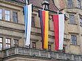 Bayerische, deutsche und fränkische Flagge.JPG