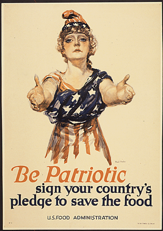 United States Food Administration - Poster with a patriotic theme to save food (1917), issued when domestic food restrictions were applied to support the U.S. Army overseas.