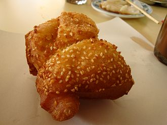 Shuangbaotai - Fried shuangbaotai with sesame seeds