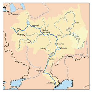 Belaya River (Kama) - Map of the Volga watershed with the Belaya highlighted