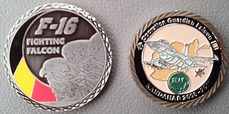 Challenge coin - Two coins issued by various units of the Belgian Air Component