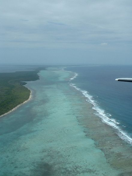 Belize Barrier Reef, aerial view looking north Belize Barrier Reef Aerial Looking North.jpg