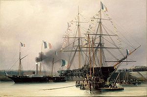 The frigate Belle-Poule returns the remains of Napoleon to France.