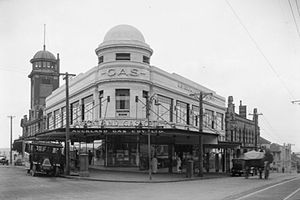 Auckland Gas Company - Historical company offices in the 1920s. The building on the corner of Beresford Street / Pitt Street still exists.