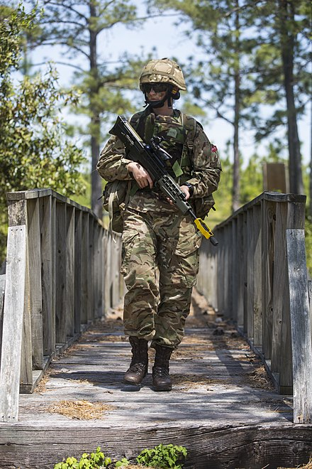 Royal Bermuda Regiment soldier with an L85A2 at USMC Camp Lejeune in 2018