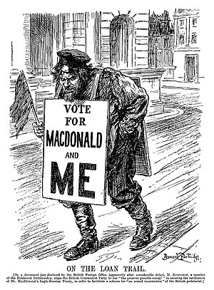"Zinoviev letter - A cartoon from Punch, published after the letter was released, depicting a stereotypical Bolshevik wearing a sandwich board with the slogan ""Vote for MacDonald and me"""