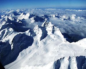 Jungfraujoch - The Bernese Alps with Jungfrau in the middle, and Jungfraujoch, its saddle, to the right, and the Jungfraufirn; as seen from east