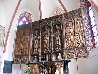 Bernhard II, Margrave of Baden-Baden -  High altar in the church in Babenhausen, donated by Sibylle of Baden.  Bernhard II of Baden is on  the left wing on the inside