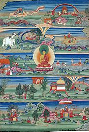 Traditional painting with the Buddha at the center and numerous animals around him, illustrating different tales