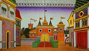 The Golden Cockerel - Ivan Bilibin's 1909 stage set design for Act 2: The Tsardom of Tsar Dadon, Town Square