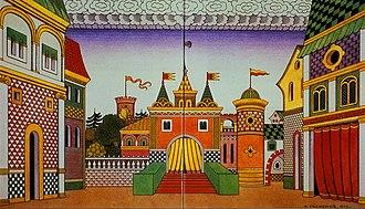 The Golden Cockerel - Ivan Bilibin's 1909 stage set design for Act 2: The Tsardom of Tsar Dadon, Town Square