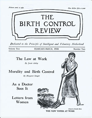 "Birth Control Review - Cover of Birth Control Review February–March 1918 with cartoon image by Cornelia Barns, ""The New Voter at Work."""