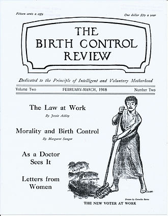 """Birth Control Review - Cover of Birth Control Review February–March 1918 with cartoon image by Cornelia Barns, """"The New Voter at Work."""""""