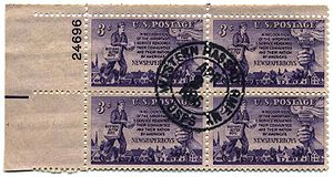 Cancelled-to-order - A Cancelled-to-order plate block of the US newspaper boy stamp of 1952.