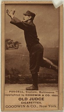 A sepia-toned baseball card image of a man in mid-running stance and wearing a dark old-style baseball uniform and pillbox cap