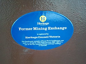 Victorian Heritage Register - Heritage Victoria blue plaque on the Ballarat Mining Exchange