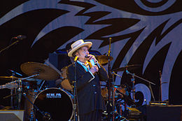 Bob Dylan performing at Finsbury Park, London, June 18, 2011