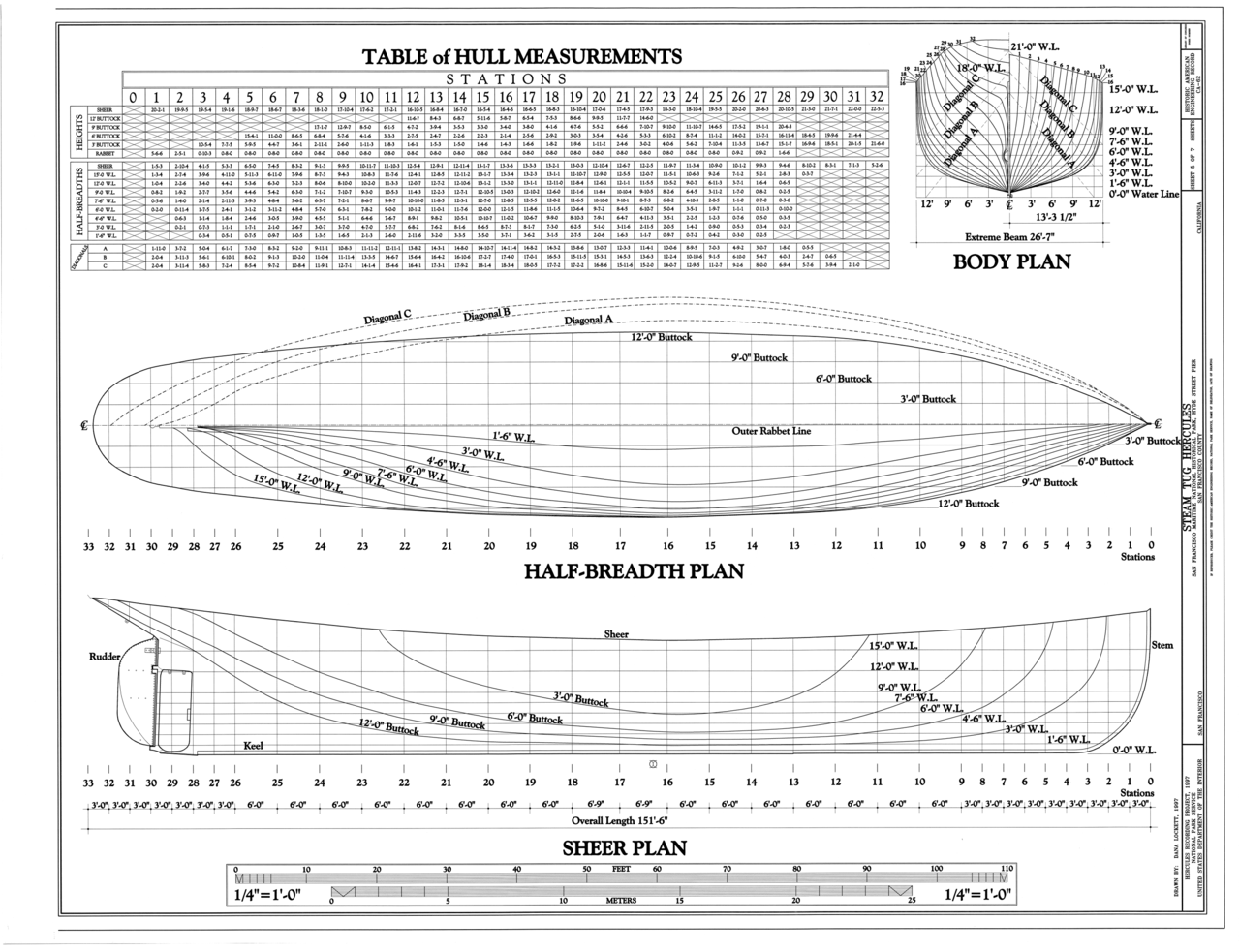 File body plan half breadth plan sheer plan table of for Half size set of plans