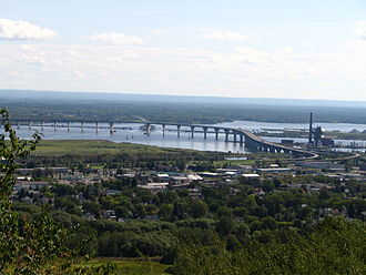 Richard I. Bong Memorial Bridge - Richard I. Bong Memorial Bridge from the Duluth, Minnesota hillside looking southwest toward Superior, Wisconsin and Billings Park.