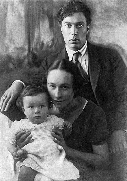 Pasternak with Evgeniya Lurye and son Boris Pasternak with family 1920s.jpg