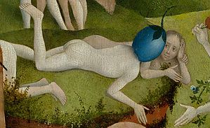 Bosch, Hieronymus - The Garden of Earthly Delights, center panel - Detail Man with a plum as head (lower right).jpg