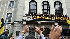 PFC Botev Plovdiv - Botev Plovdiv celebrate winning the 2016–17 Bulgarian Cup, from the balcony of the city hall