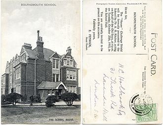 Bournemouth School - The boarding house was adjacent to the main school building in Porchester Road.