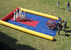 Human bowling in Denton, Texas, USA