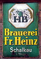 Brauerei Fr Heinz Schalkau enamel adverising sign.JPG