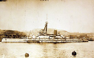 Brazilian battleship Minas Geraes - Minas Geraes leaving the River Tyne, England, 1910