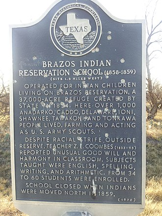 Robert Neighbors - Image: Brazos Indian Reservation School Texas Historical Marker