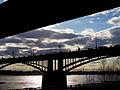 Bridges thru Ob river Novosibirsk Siberia 17.04.2012.jpg