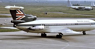 British Airways - A British Airways Hawker Siddeley Trident in its transitional scheme with BEA livery but with British Airways titles