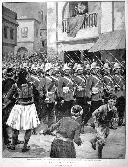 Royal Marines parade in the streets of Chania, Cretan State, in spring 1897, following British occupation during the Greco-Turkish War