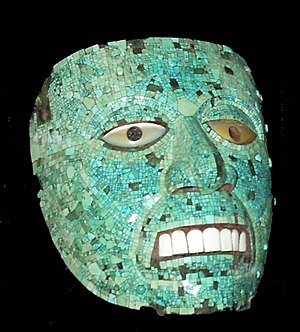 Crystal skull - Aztec mask with mosaic inlays