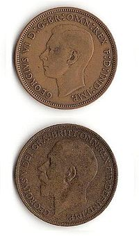 Pennies showing George V and George VI