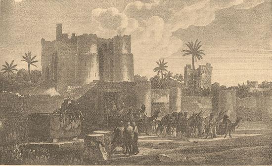 Ворота квартала «Дельта» в Александрии. Рисунок L. G. Casas'a («Voyage pittoresque de la Syrie, de la Phénicie, de la Palestine et de la Basse Egypte», II).