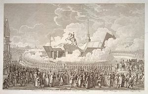 Bronze Horseman - Inauguration of the Monument to Peter the Great. Engraving by A. K. Melnikov of the drawing by A. P. Davydov, 1782