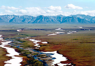 Brooks Range - Area of the Arctic National Wildlife Refuge coastal plain, looking south toward the Brooks Range
