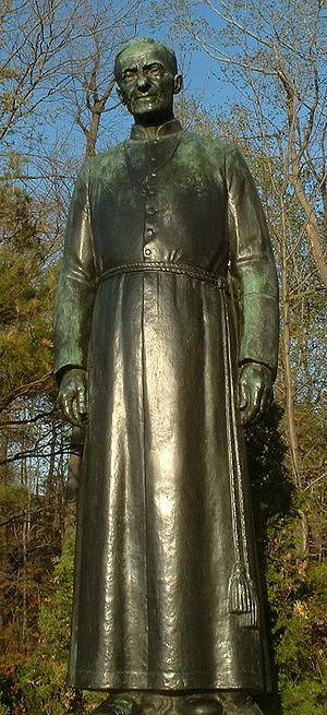 André Bessette - Statue of Brother André by Joseph-Émile Brunet on the grounds of Saint Joseph's Oratory in Montreal, QC, Canada